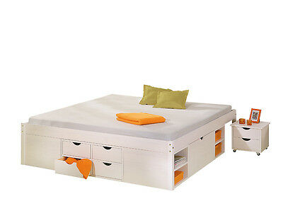 Till 140X190  Bed With Boxes And Night Table With Wheels Included.146X196X47,5