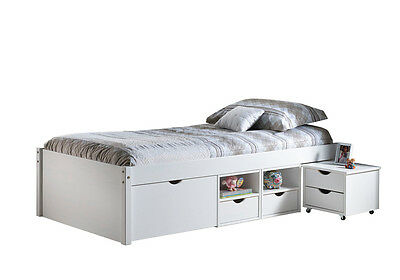 Till 90X200 Fsc  Bed With Boxes And Night Table With Wheels Included.96X209X47,5