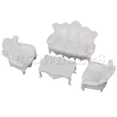 Relief European Style Sofa Settee Couch Model Set 1:25 G Scale White DIY Supply
