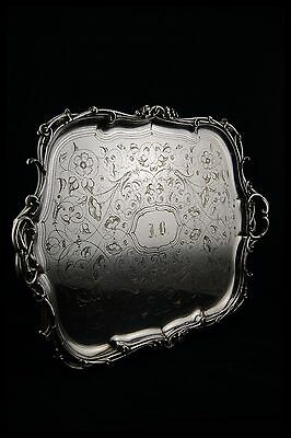 c.1870 CHRISTOFLE ART NOUVEAU SILVERPLATED SERVING TRAY FLOWERS & ROCOCO FRANCE