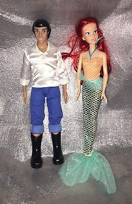 Disney Store The Little Mermaid Prince Eric and Ariel Dolls Figures 12""
