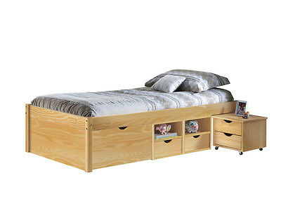 Class 90X200  Bed With Boxes And Night Table With Wheels Included.dim96X209X47,5
