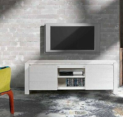 White Fir Wire Brush Finish Tv Bench, Contemporary Style, In Laminate Mdf