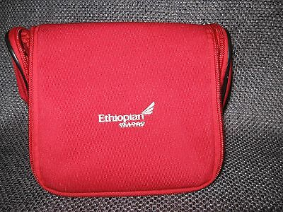 Ethiopian Airlines Business First Class RED Travel Amenity Kit Bag Case Pouch