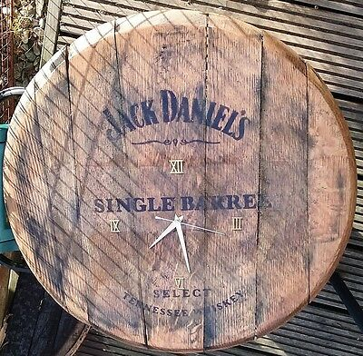 JACK DANIELS Reclaimed Whisky Barrel Lid CLOCK Solid Oak Wall hanging pub bar