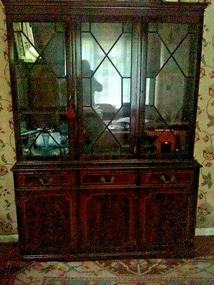 Georgian Mahogany Style Astragal Glazed  Breakfront Book Case Display Cabinet