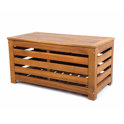 Designer Acacia Hardwood Timber Wood Outdoor Storage Chest Box Bench Seat Chair