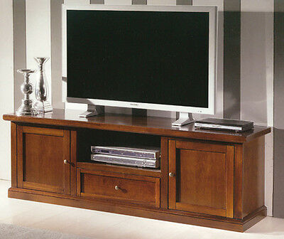 Tv Bench, Classic Style, In Solid Wood And Mdf With Polished Walnut Finish
