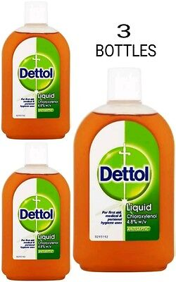 3 Bottles Dettol Liquid Antiseptic Disinfectant 500Ml New