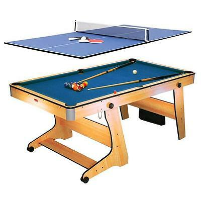 2-in-1 GAMING TABLE 6' POOL TABLE / PING PONG TABLE FOLDABLE W. CASTER ROLLERS