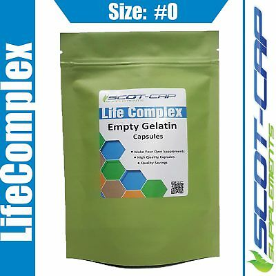 Empty Gelatin Capsules, Size 0#, Clear, Self Fill, 100 200 500 1000 2000 5000