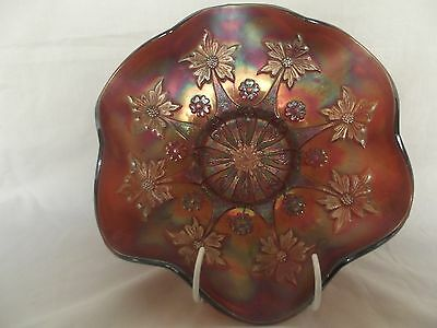 Large Purple Carnival Glass Bowl with Daisy/Flower Pattern