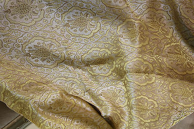Antique French Silk Brocade Pomegranates Gold Cream Silver
