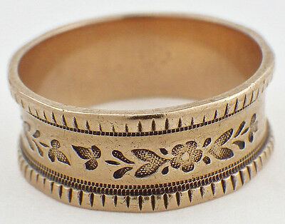 Vintage Victorian 10K Yellow Gold Women's Band Ring Engraved Flowers & Leaves