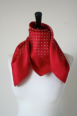 Vintage silk scarf - Red Spotted / Polka Dots - 1980s - Medium
