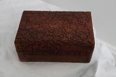 Vintage Hand Carved Wooden Spice Box Jewelry Trinket Made in India