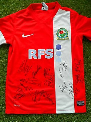 BLACKBURN ROVERS Shirt Hand Signed by 2016/2017 Squad - 14 Autographs Graham