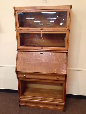 Antique Oak Barrister Bookcase drop front secretary Michigan Made