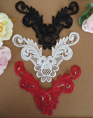 5 pcs Guipure lace necktrim applique beads and sequins, red off-white or black