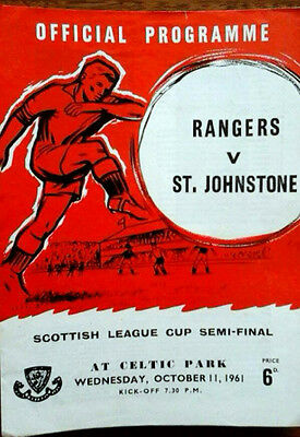 Rangers V St Johnstone 11/10/1961 Scottish League Cup Semi Final