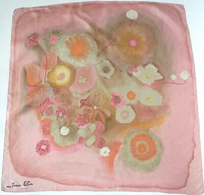 Jean Patou vintage silk scarf - Pink Abstract Floral -1960s - Medium