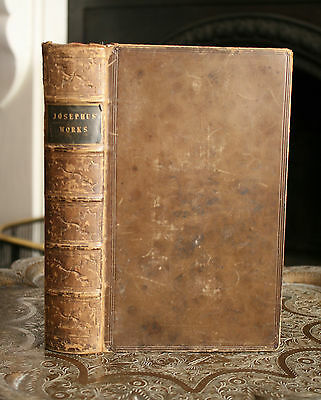 Flavius Josephus, 1841, Calf Bound Book, Copper Plates & Silk Map, Whiston