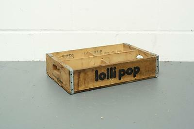 VINTAGE WOODEN LOLLIPOP SODA CRATE 70s RETRO TRUG BOX #1862