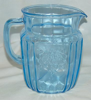 "Anchor Hocking MAYFAIR/OPEN ROSE BLUE *6"" 37 oz PITCHER*"
