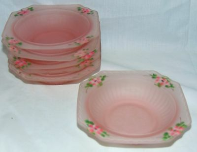 """6 Hocking MAYFAIR/OPEN ROSE PINK*FROSTED SATIN *5 1/2"""" CEREAL BOWLS *w/FLOWERS"""