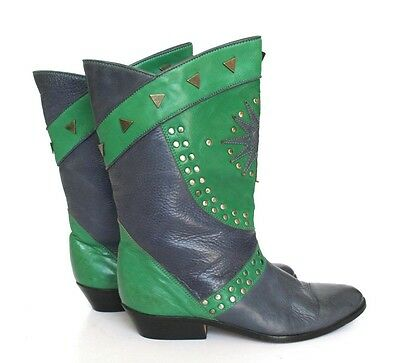UK 3.5 (Narrow) Blue / Green Leather Cowboy / Western Boots - 1980s - 36.5