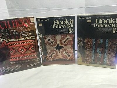 NEW LOT of 3 Wonder Art & Vogart Latch Hook 15 x 15 & 13 x 13 Pillow Craft Kits
