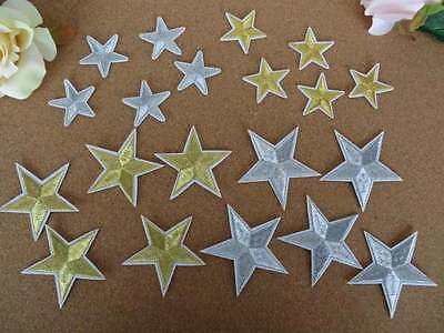 Embroidered metallic stars 5 pieces gold or silver, small or large IRON-ON