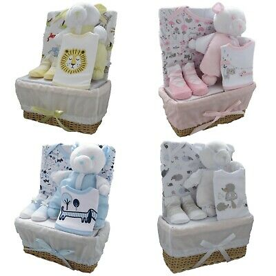Girl / Boy 5 Piece Gift Set Rustic Basket Hamper Birth Baby Shower Present