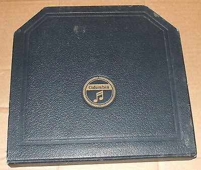 "Columbia  Portable Gramophone  record case black  Width 10 5/8"" Height 10 3/8"""