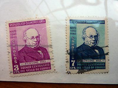 STAMPS OF DOMINICAN REPUBLIC - SG 434/435 - USED -1940 - CENTENARY 1st ADHESIVE