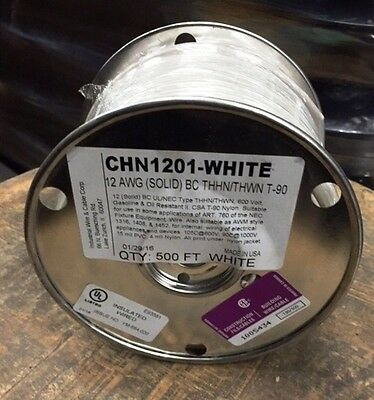 500 Ft Thhn/thwn Wire 12 Awg Solid 600 Volt. Made In Usa.  Available In White!