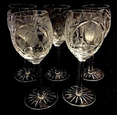 5 Vintage Royal Albert Old Country Rose Crystal Wine Glass - Large Size