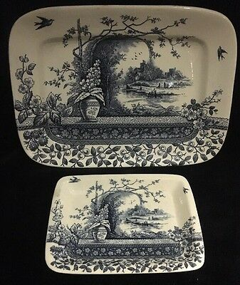B&L (Burgess & Leigh): Hill Pottery: 'Rustic': Rd 56790: 2 Serving Trays, Blue