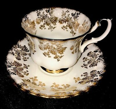 Royal Albert Fancy White and Gold FLORAL Chintz Fluted Tea Cup and Saucer Set