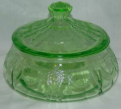 """Anchor Hocking CAMEO/BALLERINA GREEN *4"""" LOW CANDY w/LID*"""