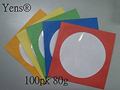 100 Pack Mix Color-White Paper CD DVD Sleeves 80 gram Envelope with Window