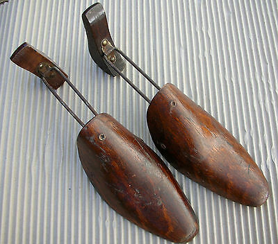 Vintage Pair Wooden Shoe Trees Stretchers Hinged