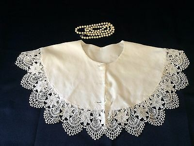 Lace trim Fabric Collar Solid White Designer Vintage Embroidery Floral