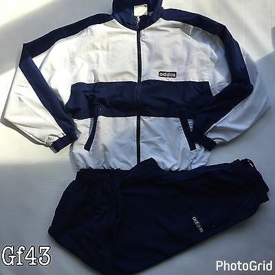 Adidas Womens Vintage Retro Authentic Full Tracksuit White Blue Top Bottoms L