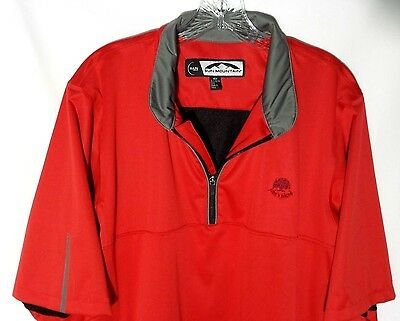 Sun Mountain Golf Pullover Rain Wear Jacket Mens L Large Red Lined 1/4 Zip Logo