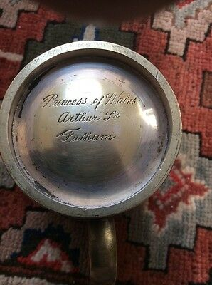 Antique Victorian Silver Plated Pint Pub Tankard VR Princess Of Wales Fulham