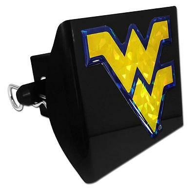 emblem on black METAL Hitch Cover AMG West Virginia University METAL mountaineers colored navy with yellow trim