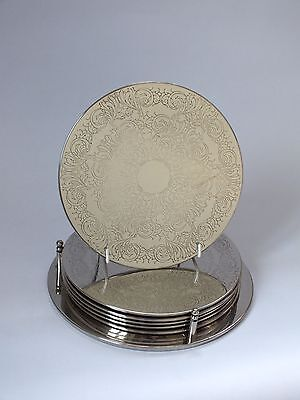 """SIX VINTAGE SILVER PLATED TABLE MATS Placemats 7.75"""" diameter"""