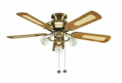 "Small hugger mount ceiling fan with lights 107cm 42"" MAYFAIR COMBI Antique Brass"