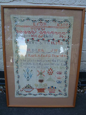 EARLY VICTORIAN SAMPLER by ANN RUSH AGED 12 c1840 FRAMED & GLAZED GOOD CONDITION